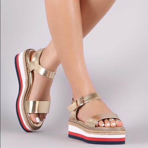 d7d83170d0 BAMBOO Shoes   Elle Metallic Foam Espadrille Flatform   Poshmark